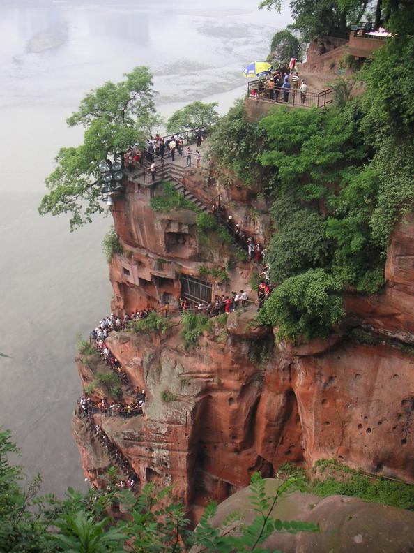 Paysage panoramique du mont Emei, incluant le paysage panoramique du grand Bouddha de Leshan